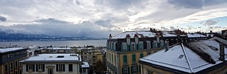 Snowy Lausanne panorama