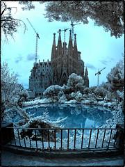 Baslica de la Sagrada Famlia (Ar@lee) Tags: barcelona catalunya ir fotografainfrarroja filtro fullspectrum airelibre baslicadelasagradafamilia gaudi construccin photographyinfrared 720nm panormica nikond50 bordeparafotos lago parque