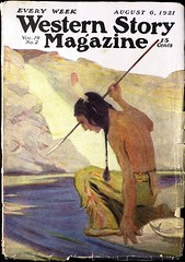 Western Story Magazine Vol. 19, No. 2 (August 6, 1921). Uncredited Cover Art (lhboudreau) Tags: pulp magazine magazines pulpmagazine pulpmagazines magazinecoverart pulpmagazinecover pulpmagazinecovers magazinecover magazinecovers pulpart 1921 august61921 volume19number2 west western wildwest coverart illustration drawing spearfishing spear nativeamerican americanindian river westernstory westernstorymagazine weekly