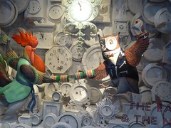 The owl and the rooster (JuliaC2006) Tags: london christmas lights shop window owl rooster cockerel clocks