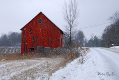 Winter Red Barn (Eyes Open To Life) Tags: barn winter snow rural countryside landscape vermont autofocus 100commentgroup