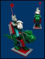 The Horse Rider (Karf Oohlu) Tags: lego moc figure horse trex tyrannosaur horserider technicfigure fabulandfigure binoculars scout