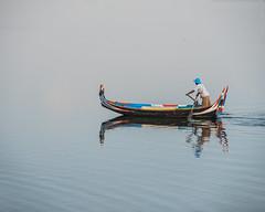 Taung Tha Man Lake at U Bein Bridge (jan lyall) Tags: taungthamanlake u bein bridge burma amarapura fisherman fishing boat lake explore travel myanmar
