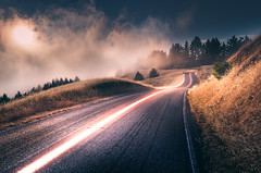 Lightning Road (thefatrobot) Tags: road fog sunset hdr evening light landscape nature photoshop bay area california scenic