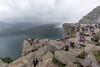 Preikestolen crowds (villeah) Tags: norway path hiking landscape crowd lysefjorden nature people scenery preikestolen pulpitrock fjord view cliff clouds rogaland no