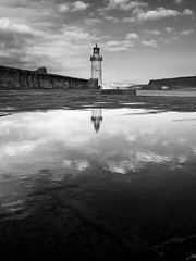 The harbour light reflection 1 (alf.branch) Tags: westcumbria whitehaven whitehavenharbour harbour pier cumbria westpier refelections reflection mono bw blackandwhite