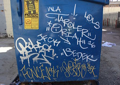 TAROL ORIAH SEDEK WLA LOL JFC BOKS FOER FONCE UFK CMK Trash bin tags (FONS One, UFK CMK) Tags: los angeles california graffiti la ca graff cali 2016 fonz fons fonse fonce fonze tv television foncy fonzy fonzie fonzi ufk cmk street art illegal illegals streets slaps slaptags stickers tags tagging spray paint cans rollers pieces bombs throw up throwups trash bins wheat paste freeway freeways trashbins meanstreak mean streak markers unis uni marker pilot montana scribe scribes ironlak krylon photo photos photography pics slideshow video