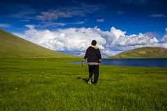 walking alone under blue sky (zulqarnain tiwana) Tags: park blue pakistan sky lake me nature clouds canon walking landscape alone bluesky national feilds gilgit naran leftalone deosai baltistan astore sheosarlake 60d northernareasofpakistan deosaiplains greenfeilds deosainationalparkpakistan
