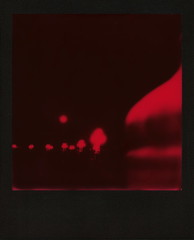 Red Supermoon (tobysx70) Tags: the impossible project tip polaroid slr680 frankenroid sx70 door rollers red black blackandred duochrome film for 600 type cameras instant blackframe impossaroid supermoon suicide bridge coloradostreetbridge colorado blvd boulevard route 66 rt rte pasadena california ca full moon night nocturnal streetlights streetlamps lit illuminated curve bokeh toby hancock photography