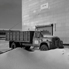 Truck, Oakesdale, Washington (austin granger) Tags: truck oakesdale washington palouse silo grain rural farming crop snow winter square film gf670 international