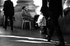 In the Corner (Isengardt) Tags: corner ecke oldlady lady frau dame sitting sitzen light licht schatten shadow laufen walking sunglasses sonnenbrille down unten shoe schuhe street strase stuttgart badenwürttemberg deutschland germany europe europa olympus omd em1 1250mm säulen columns chair stuhl