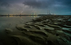 Poolbeg and the new incinerator, Sandymount, Dublin Ireland. (a.lee.miller) Tags: ifttt 500px water beach sunset sea ocean landscape dawn seashore no person evening seascape travel sand sun light sky reflection dusk storm lake industry poolbeg towers dublin ireland