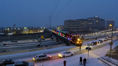 CP Holiday Train over 394 (shawn_christie1970) Tags: canadianpacificrailway cpht holidaytrain christmas train passenger i394 minnesota twincities cp2246 drone cp