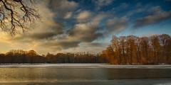 Lake at sunset (Traveller_40) Tags: bavaria bayern englischgarden englischergarten monaco münchen hdr kleinhesselohersee water ice wasser eis bäume city sunset sonnenuntergang trees