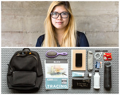 Carolyn Diptych (J Trav) Tags: persona portrait whatsinyourbag theitemswecarry showusthecontentsofyourbag sanfrancisco diptych