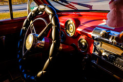 Dash (Michael Goldrei (microsketch)) Tags: fujilovers vehicles street chevrolet red photos automobiles photographer st photography x dash series wheel 1950s metal cuba shiny shiney shine xseries vehicle fujifilm chrome car paint auto 50s classic sterrring photo leather x100t pig cars 1950 automobile fuji dashboard