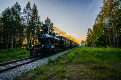 Summer steam train (ArtDvU) Tags: hv3 steam locomotive 995 train old nostalgic sotkamo kainuu saviaho kontiomäkinurmes finland finnishrailways summer evening sunset wideangle sigma nikon d7000
