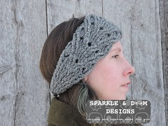 Cabled Diamond Headwrap 03a (zreekee) Tags: crochet sparkledoomdesigns saskatchewan headband headwrap crochetrend grey