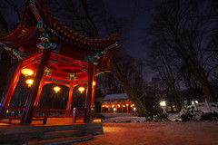Łazienki (PiotrTrojanowski) Tags: warsaw poland łazienki park night lights trees chinese garden pagoda lampion
