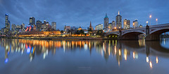 Melbourne CBD Panorama (bing dun (nitewalk)) Tags: bridge sunset panorama night river walk australia melbourne southbank yarra cbd princes flinders southgate sandridge