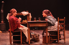 "Helen Geller and Adrienne Barbeau as Yente, the Matchmaker, and Golde in the Music Circus production of ""Fiddler on the Roof"" at the Wells Fargo Pavilion Aug 14-19. Photo by Charr Crail."