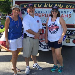 Rep. Matt Hudson with friends and famiily campaiging at Naples Fourth of July Parade
