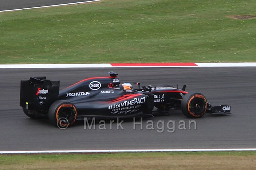 Fernando Alonso in Free Practice 3 for the 2015 British Grand Prix at Silverstone