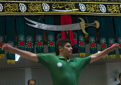 Gyration During The Traditional Sport Of Zurkhaneh, Isfahan Province, Kashan, Iran (Eric Lafforgue) Tags: people sport horizontal training photography persian wooden athletic asia adult exercise iran wrestling muslim islam traditional performance ceremony middleeast competition persia bodybuilding indoors clubs ritual wrestler strength tradition activity orient youngadult kashan sufi sufism cultures adultsonly oneperson islamic kachan zurkhaneh shiite practising meel gyration exercising traditionalsport onlymen onemanonly lowangleview colourimage 1people zourkhaneh isfahanprovince strengthtraining zurkhane muscularbuild sportstraining houseofstrength nonwesternscript charhtsamani iran151157