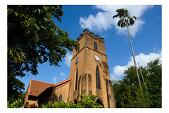 Old Church in Candi (Roman Lunin) Tags: srilanka candi church architecture building colors street composition town city tower asia palm