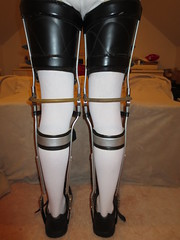 Rear View of  Strapped Full Thigh Cuff (KAFOmaker) Tags: brace braces braced bracing afo kafo leather metal orthopedic caliper calipers orthese orthotic orthosis orthoses orthosen fetish bound bondage restraint restraints restrain restraining
