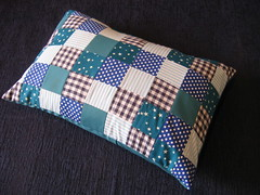 Cushion - blue squares (Dr Badcrumble - Maker and Baker) Tags: quilt handmade recycled upcycled patchwork squares blue pillow cushion mrsbadcrumble