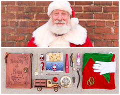 Santa Diptych (J Trav) Tags: santa persona santaclaus portrait whatsinyourbag theitemswecarry showusthecontentsofyourbag diptych atlanta naughtyornice holiday christmas stnick