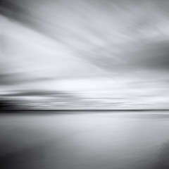 Texture of a Wintery Sky (panfot_O (Bernd Walz)) Tags: sea seascape water waterscape balticsea clouds movement wind winter emptyness space wideness minimal minimalism fineart blackandwhite bnw bw monochrome square contemplation simplicity slowphotography longexposure ndfilter