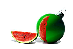 unexpected xmas (brescia, italy) (bloodybee) Tags: 365project watermelon fruit food cut slice bauble xmas christmas christmastree tannenbaum stilllife humor fun red green white shadow summer winter season december ornament