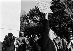 Donald Trump Protest - Manhattan - November 2016 (A Screaming Comes Across the Sky) Tags: nikon nikkor 35mm fs8 ai film analog analogue emulsion black white bw street nyc new york city manhattan trix 400 kodak blackandwhite monochrome road protest