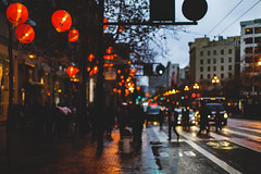 A City Full of People (marq4porsche) Tags: san francisco california united states city urban rain light dark contrast color red blue sidewalk streetlights bokeh shallow depth field canon eos 6d ef 50mm 12 l people buildings architecture colors