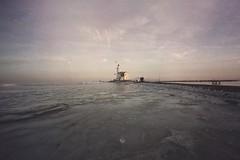 Pastel sunset on frozen lake (soleá) Tags: vuurtoren lighthouse nature carmengonzalez soleá wintertime winter weather frozenlake icylake ice noordholland markermeer nederland holland paardvanmarken