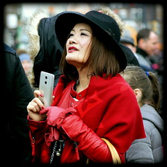 Lady in red (* RICHARD M (Over 6 million views)) Tags: street candid portraits portraiture streetportraits streetportraiture candidportraits candidportraiture ladyinred luckyred chinesenewyear kungheifatchoi happynewyear nelsonstreetliverpool chinatown chinatownliverpool liverpool merseyside unescomaritimemercantilecity europeancapitalofculture capitalofculture unescocityofmusic liverpudlians scousers chinese chineselady chinesebeauty almondeyes mobilephone cellphone fedora ladysfedora ladyinfedora immaculate welldressedchineselady personalgrooming prettywoman redleathercloves leathergloves yearoftherooster chinesenewyear2017 multiculturism blackfedora chineseladyinblackfedora beauty beautiful pretty gongheyfatchoy liverpoolchinesenewyear liverpoolchinatown