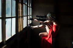 Dangerous Beauty (Rob Hirai) Tags: woman sexy japanese asian japan assassin gun window oldhouse cosplay playacting reddress