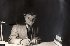 From an album recently discovered at my mom's house. A rather noire shot of my dad studying for a college exam wearing a suit and tie. That's what people did back then. He majored in electrical engineering.  New Haven Connecticut. Feb 1952 (wavz13) Tags: oldphotographs oldphotos 1950sphotographs 1950sphotos oldphotography 1950sphotography vintagesnapshots oldsnapshots vintagephotographs vintagephotos vintagephotography filmphotos filmphotography historicphotographs historicphotos historicphotography vintagenewhaven oldnewhaven 1950snewhaven connecticutphotographs connecticutphotos connecticutphotography oldconnecticutphotography oldconnecticutphotos oldconnecticut vintageconnecticut vintagenewengland oldnewengland 1950snewengland vintagenewenglandphotography oldnewenglandphotography vintagenewenglandphotos oldnewenglandphotos elmcity 1950sconnecticut noire lightandshadow shadowandlight cinematic oldclothes vintageclothes