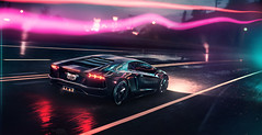 Neon Demon (Mikhail Sharov) Tags: needforspeed retouch photoshop nfs night weather wet vehicle car sport auto racing outdoor lamborghini aventador synthwave