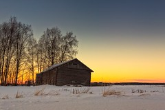 Old Barn And The Midwinter Sunrise (k009034) Tags: 500px wooden copy space finland matkaniva oulainen tranquil scene agriculture architecture barns branches building clouds countryside farming fields nature no people old rural sky snow sunset trees winter teamcanon