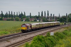 67008 - Harrowden Junction - 10-06-15 (techno-phobe) Tags: northamptonshire skip dbs wellingborough mml vsoe midlandmainline class67 67008 67014 dbschenker harrowdenjunction