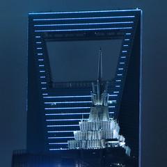 Chinese Bottle Opener (CiccioNutella) Tags: world china city blue light tower architecture modern night skyscraper asia cityscape shanghai top center pudong financial bund jinmao liujazui