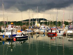 Approaching storm, South Bay, Scarborough. (Macca6691) Tags: lighthouse seascape rain landscape boats outside harbour scarborough yachts southbay oliversmount iphone approachingstorm coronia regallady thelittleshipsofdunkirk