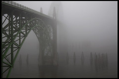 Bridge in fog #1 (hamsiksa) Tags: fog oregon newport rivers oregoncoast newportoregon yaquina steelarchbridge yaquinariver oregoncoasthighway lincolncountyoregon bridgesinfog yaquinariverbridge