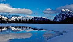Blue day Banff (Robert Ron Grove 2) Tags: mountains canada rundle daylight blue reflections robertgrove