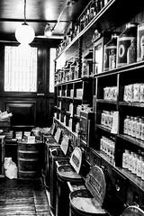 20160703-_DSF4779-Edit (douglasjarvis995) Tags: fuji xpro1 blackandwhite blackwhite monochrome old retro historic yorkshire howarth shop travel store