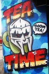 "LA in Autumn - Off Sunset - Mural Art - ""Tea Time"" / ""Doom Tea"" (ramalama_22) Tags: la los angeles echo park gloomy atumn sunday sunset boulevard wall mural painting tea time doom urban art arte urbano cup mask"