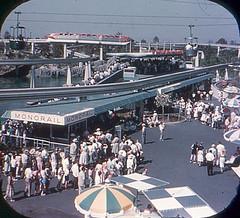 Tomorrowland Reel 2, #6b - Loading Ramps for Submarine Ride and the Monorail (Tom Simpson) Tags: viewmaster slide vintage disney disneyland 1960s vintagedisney vintagedisneyland